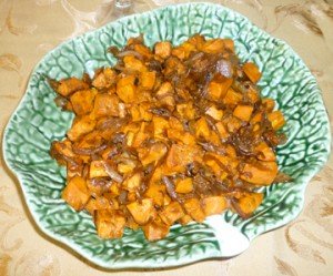 Roasted Sweet Potatoes with Shallots and Pecans
