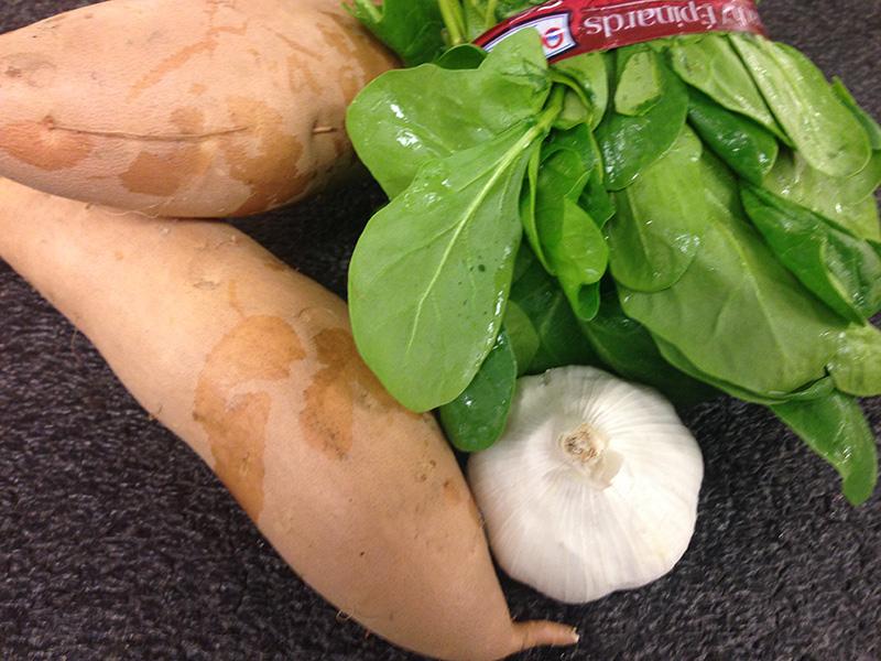 Spinach Sweet-Potatoes Garlic