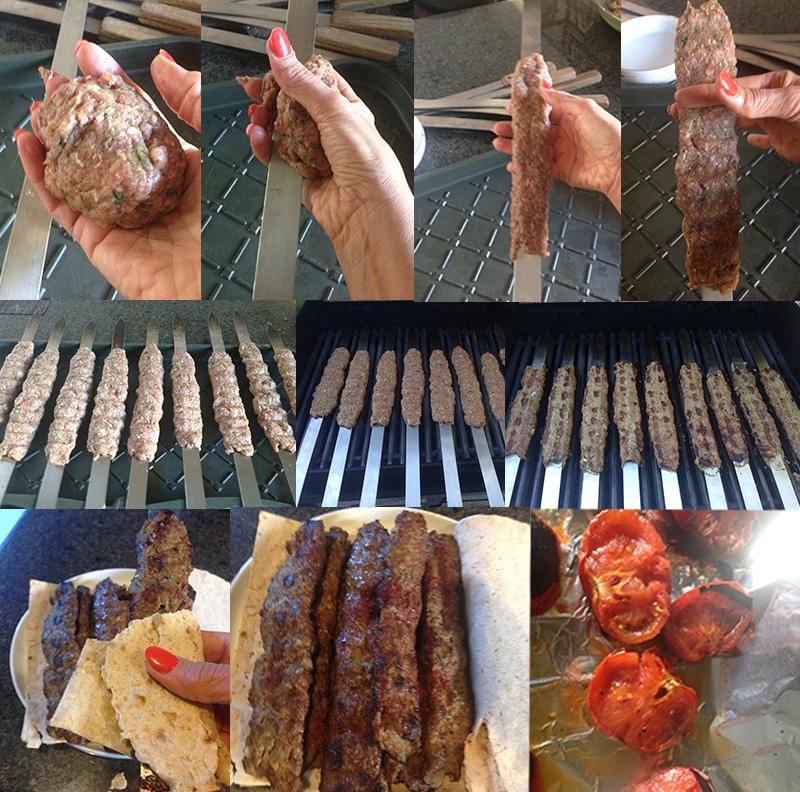 Beef Kebob Preparation With Skewer