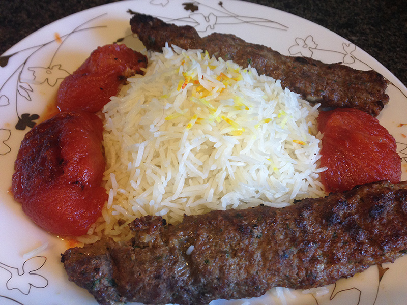 Beef kebob with Roasted Tomatoes and Rice
