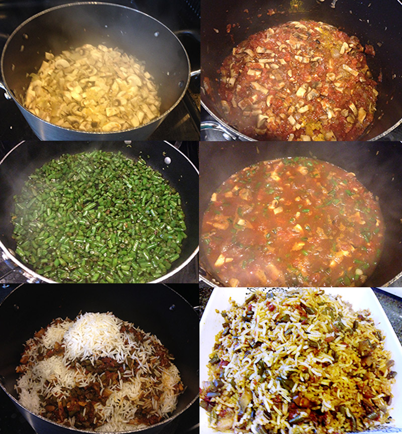Preparation for Rice with Green Beans and Mushrooms