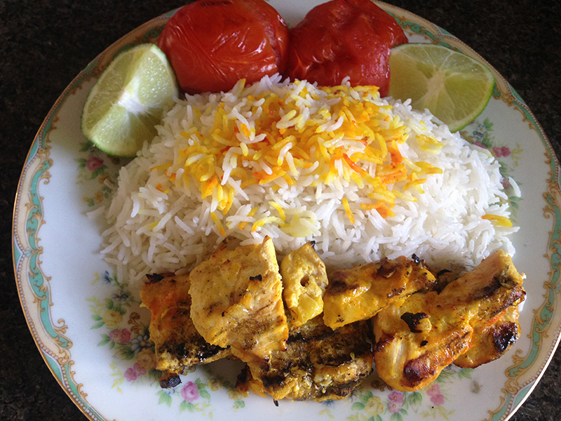 Chicken Kebob with Rice and Grilled Tomatoes