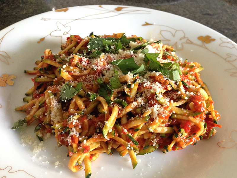 Zucchini Noodles with Roasted Red Peppers and Sun-Dried Tomatoes
