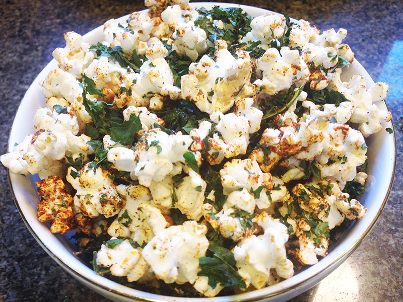 Seasoned Popcorn with Kale Chips