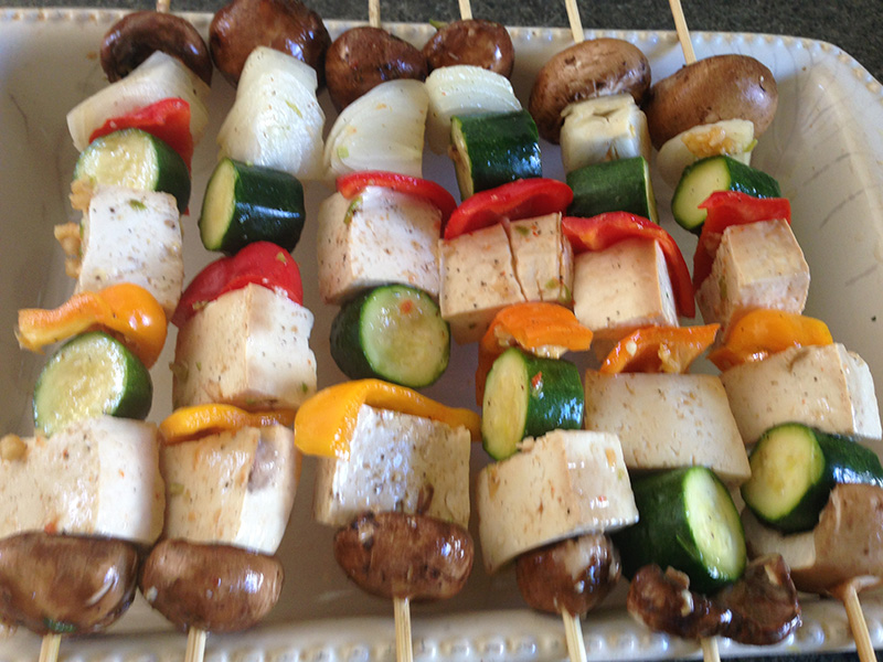 Skewed Tofu and Vegi Kebobs