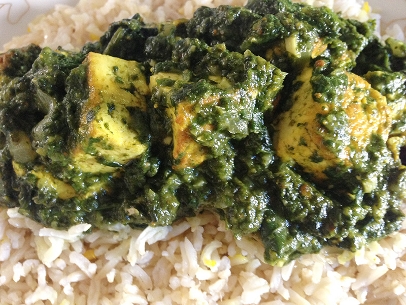 Indian Spiced Spinach With Tofu Over Brown Rice